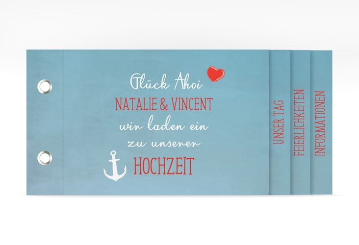 """Hochzeitseinladung """"Ehehafen"""" Booklet blau"""