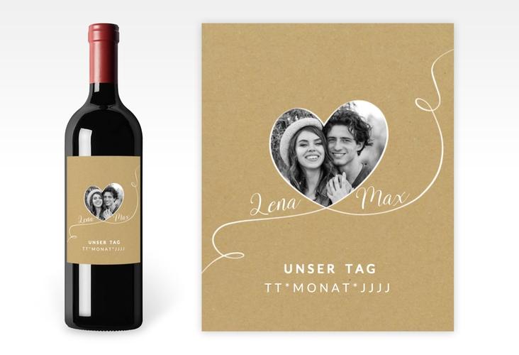 """Weinetikett zur Hochzeit """"Herzensbund"""" Etikett Weinflasche 4er Set weiss"""