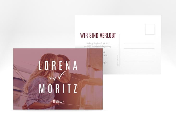 """Verlobungskarte Hochzeit """"Memory"""" A6 Postkarte rot"""