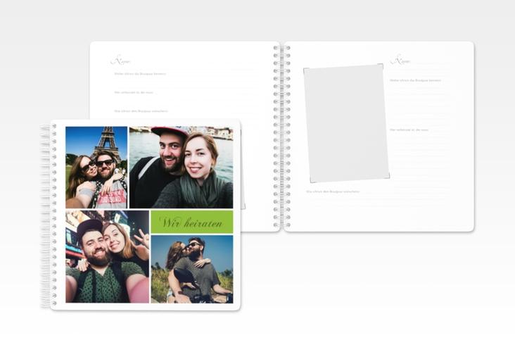 """Gästebuch Hochzeit  """"Collage"""" Ringbindung gruen"""
