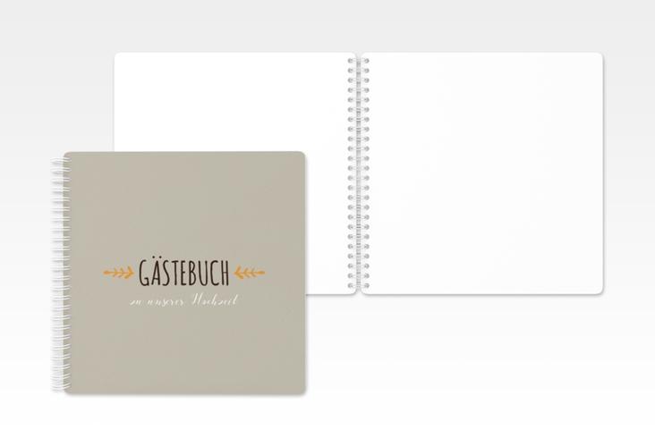"""Gästebuch Hochzeit """"Eden"""" Ringbindung orange"""