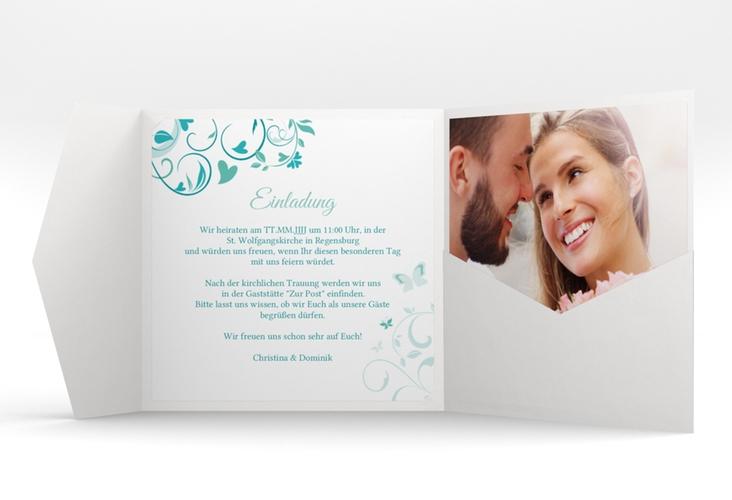 """Hochzeitseinladung """"Lilly"""" Pocketfold tuerkis"""