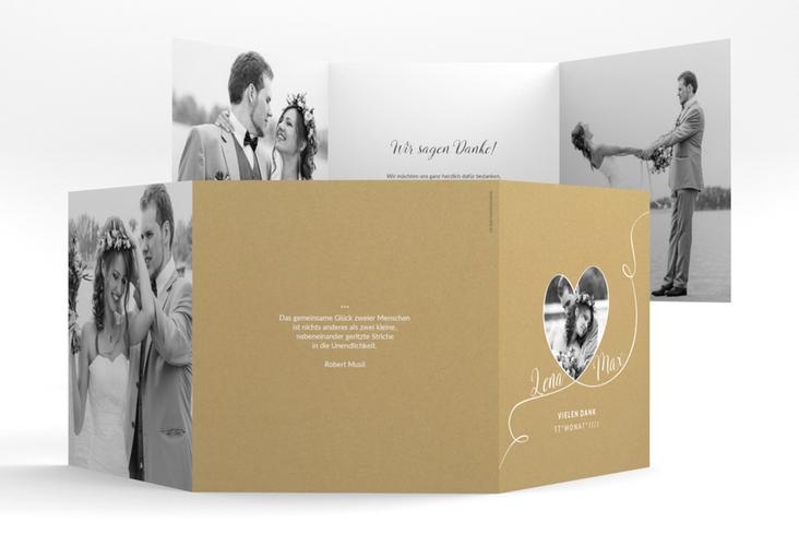 """Dankeskarte Hochzeit """"Herzensbund"""" Quadr. Karte doppelt weiss"""