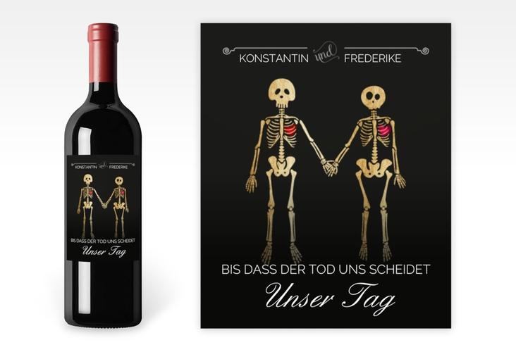 """Weinetikett zur Hochzeit """"Bones"""" Etikett Weinflasche 4er Set"""