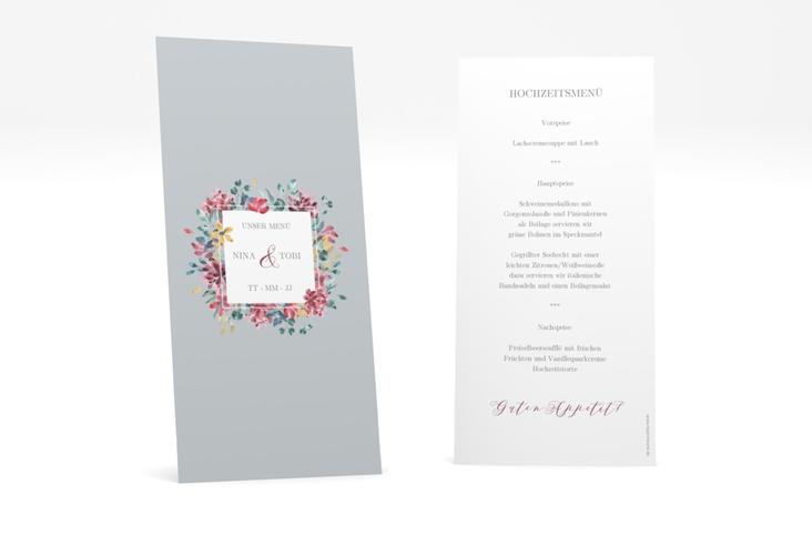 """Menükarte Hochzeit """"Blumenliebe"""" DIN lang hoch grau"""