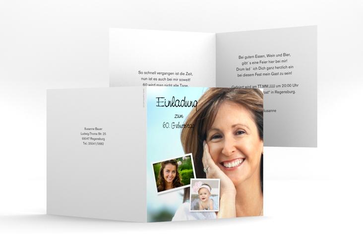 """Einladungskarte """"Friedolin/Frieda"""" Quadratische Klappkarte"""