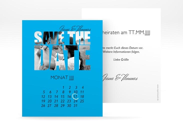 """Save the Date-Kalenderblatt """"Letters"""" Kalenderblatt-Karte blau"""
