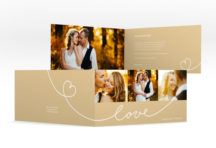 """Danksagungskarte Hochzeit """"Line"""" DIN lang Klappkarte beige"""