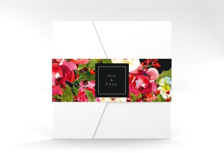 """Hochzeitseinladung """"Blumenpracht"""" Pocketfold schwarz"""
