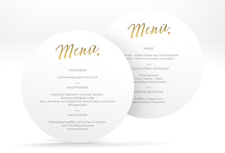 """Menükarte Hochzeit """"Glam"""" rund weiss"""
