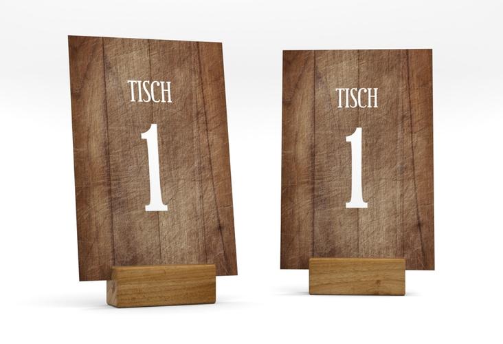 """Tischnummer Hochzeit """"Wood"""" Tischaufsteller braun"""