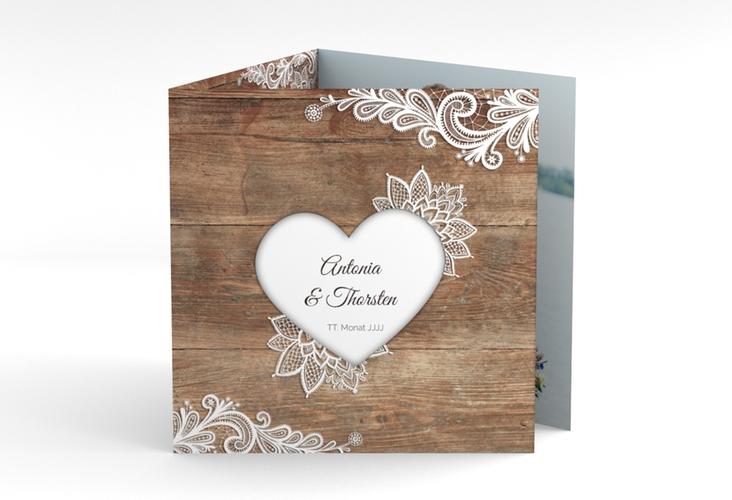 "Dankeskarte Hochzeit ""Spitze"" Quadr. Karte doppelt braun"