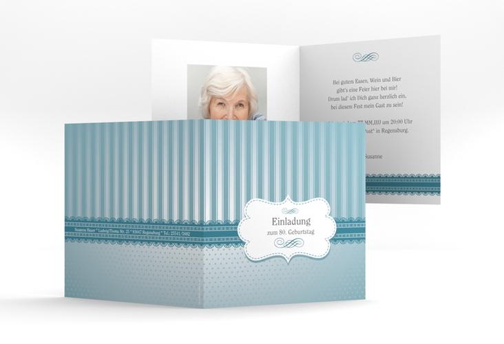 """Einladungskarte """"Heinrich/Henriette"""" Quadratische Klappkarte blau"""