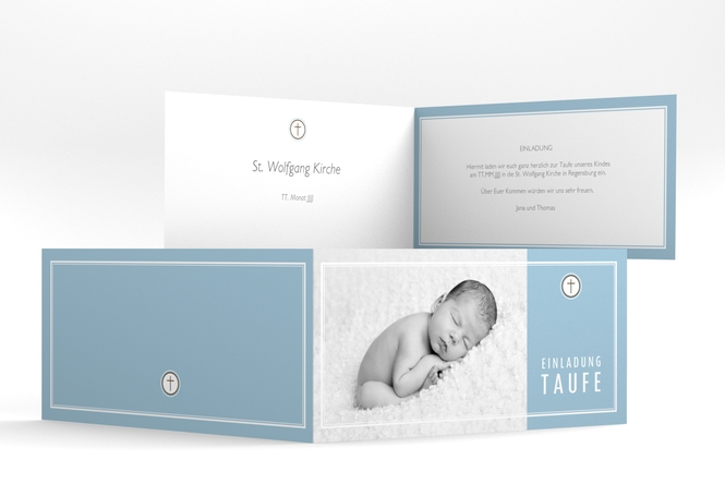 "Einladungskarte Taufe ""Belle"" DIN lang Klappkarte"