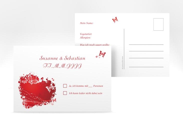 """Antwortkarte Hochzeit """"Mailand"""" A6 Postkarte rot"""