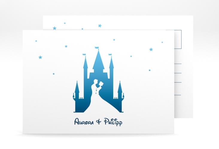 "Verlobungskarte Hochzeit ""Castle"" A6 Postkarte blau"