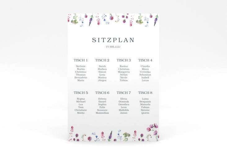 """Sitzplan Poster Hochzeit """"Wildblumen"""" 50 x 70 cm Poster"""