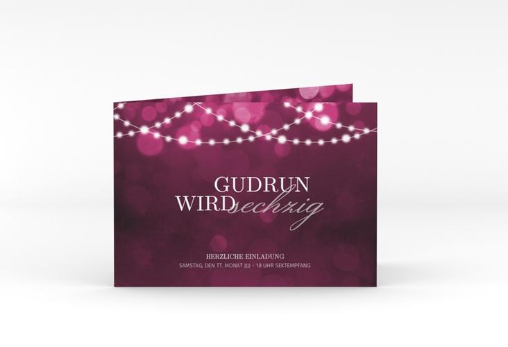 """Einladungskarte """"Girlande"""" A6 Klappkarte Quer pink"""