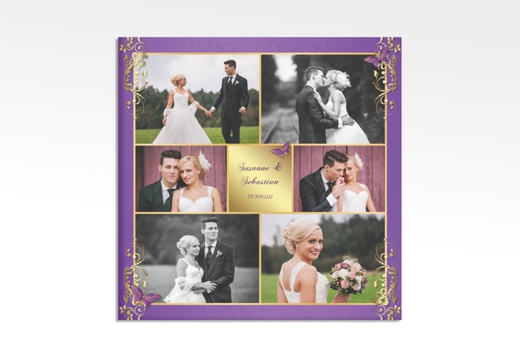 """Hochzeitscollage Leinwand """"Toulouse"""" 30 x 30 cm Leinwand lila"""