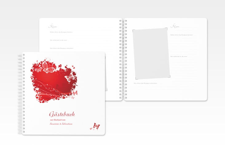 "Gästebuch Hochzeit ""Mailand"" Ringbindung rot"