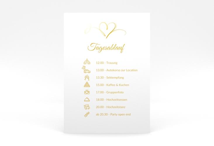 """Tagesablauf Poster Hochzeit """"Envie"""" 50 x 70 cm Poster gold"""