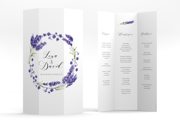 """Menükarte Hochzeit """"Lavendel"""" DIN A4 Wickelfalz"""