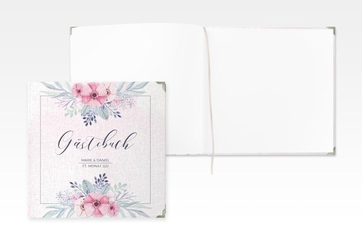 """Gästebuch Selection Hochzeit """"Surfinia"""" Leinen-Hardcover rosa"""