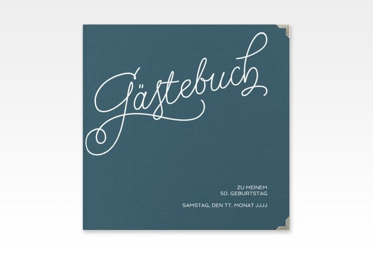 """Gästebuch Selection Geburtstag """"Schwungvoll"""" Leinen-Hardcover blau"""