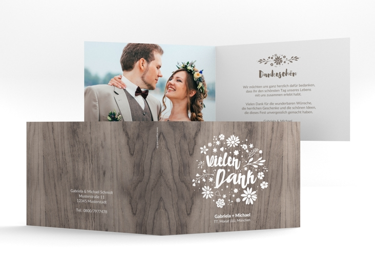 """Danksagungskarte Hochzeit """"Buttercup"""" A6 Klappkarte Quer beige"""
