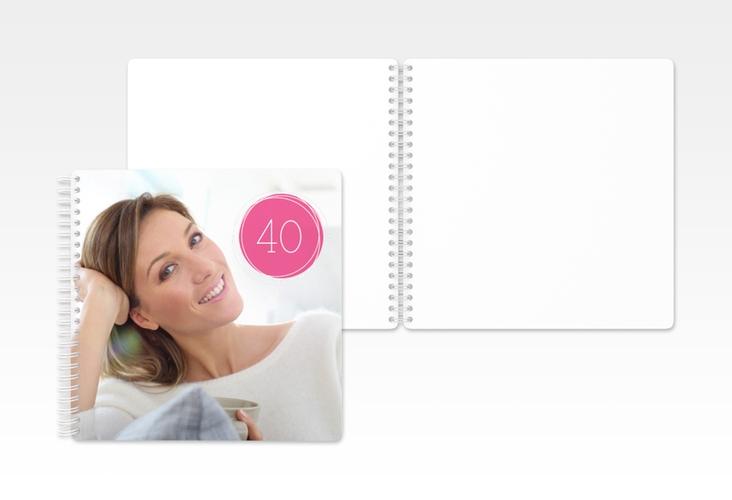 "Gästebuch Geburtstag ""Twister"" Ringbindung pink"