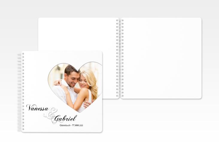 """Gästebuch Hochzeit """"Sweetheart"""" Ringbindung weiss"""