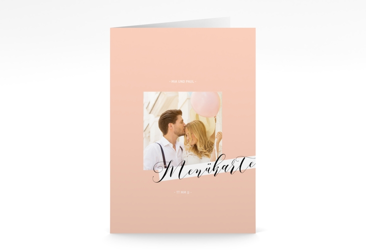 "Menükarte Hochzeit ""Soulmate"" DIN A5 geklappt apricot"