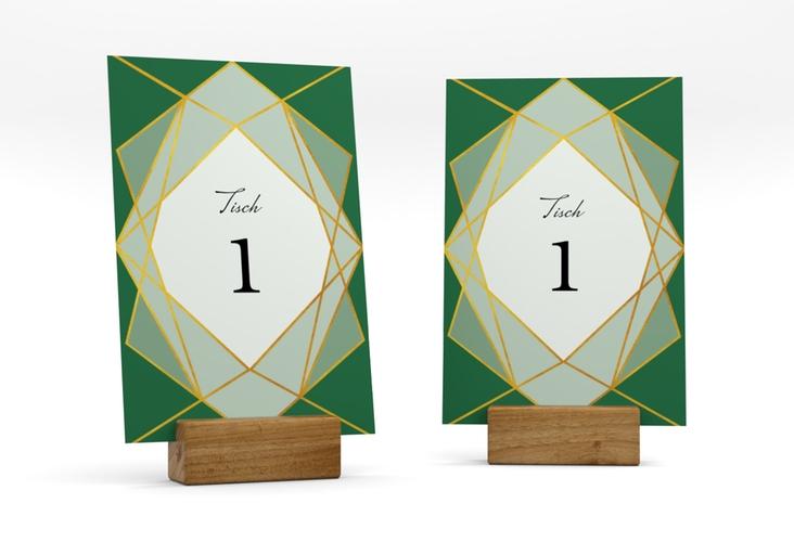 """Tischnummer Hochzeit """"Geometric"""" Tischaufsteller gruen"""