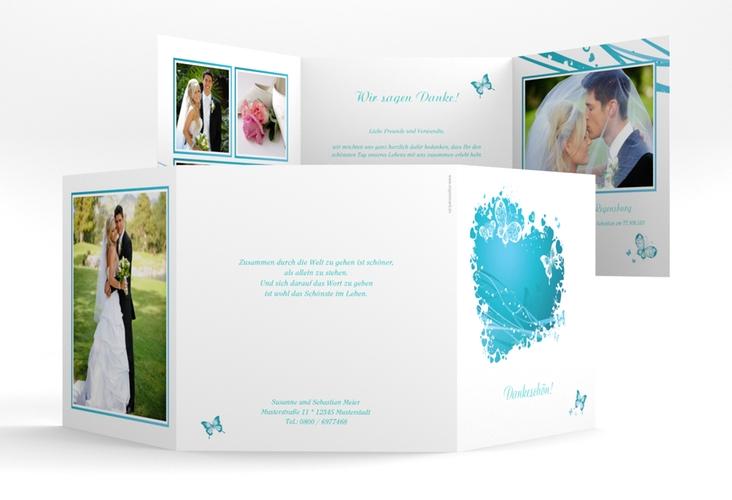 """Danksagungskarte Hochzeit """"Mailand"""" Quadr. Karte doppelt tuerkis"""