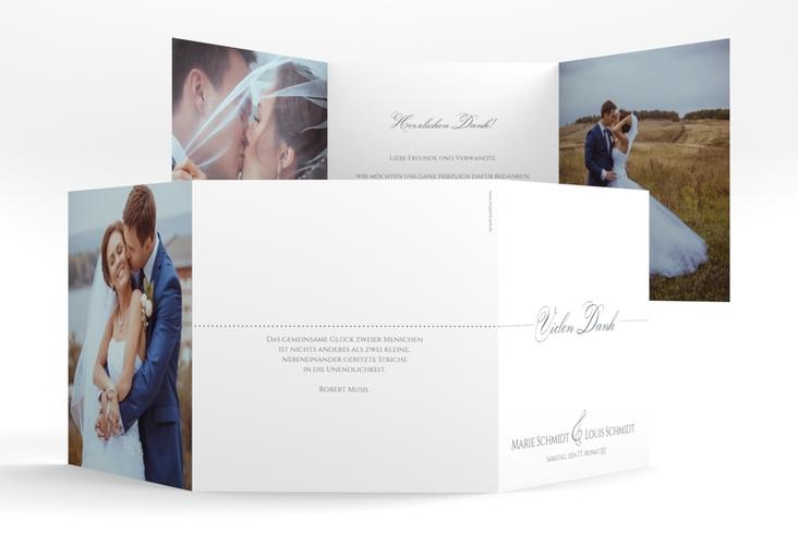 "Dankeskarte Hochzeit ""Pure"" Quadr. Karte doppelt grau"