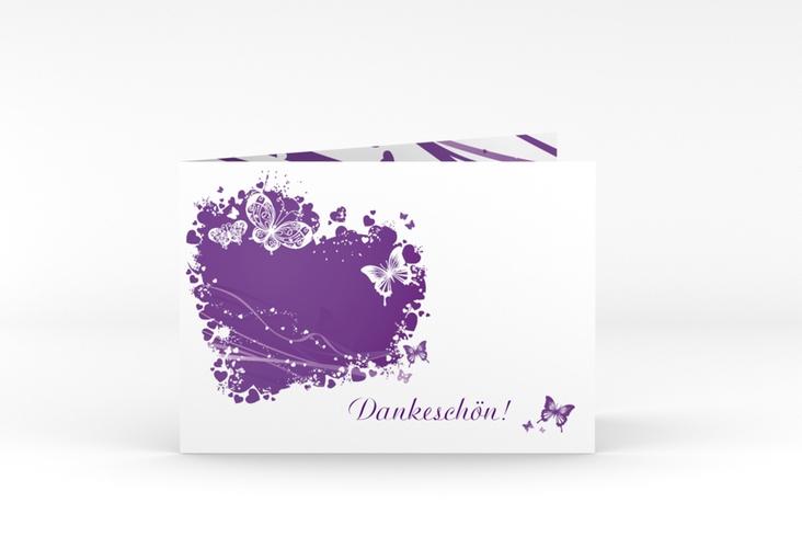 "Danksagungskarte Hochzeit ""Mailand"" A6 Klappkarte Quer lila"