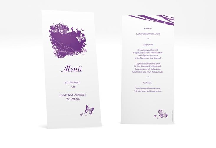"Menükarte Hochzeit ""Mailand"" DIN lang hoch lila"