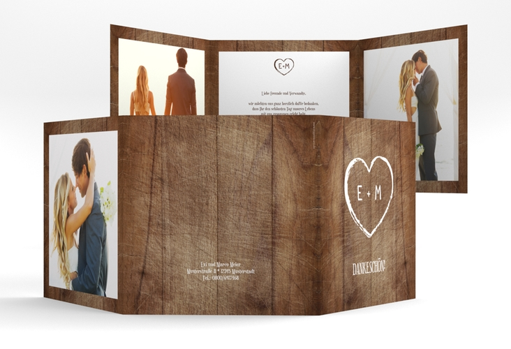 """Dankeskarte Hochzeit """"Wood"""" Quadr. Karte doppelt"""