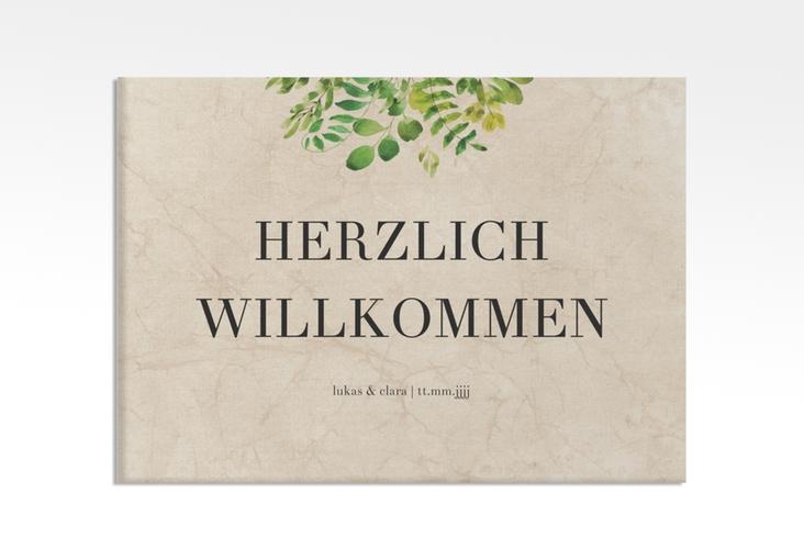 "Willkommensschild Leinwand ""Botany"" 70 x 50 cm Leinwand beige"