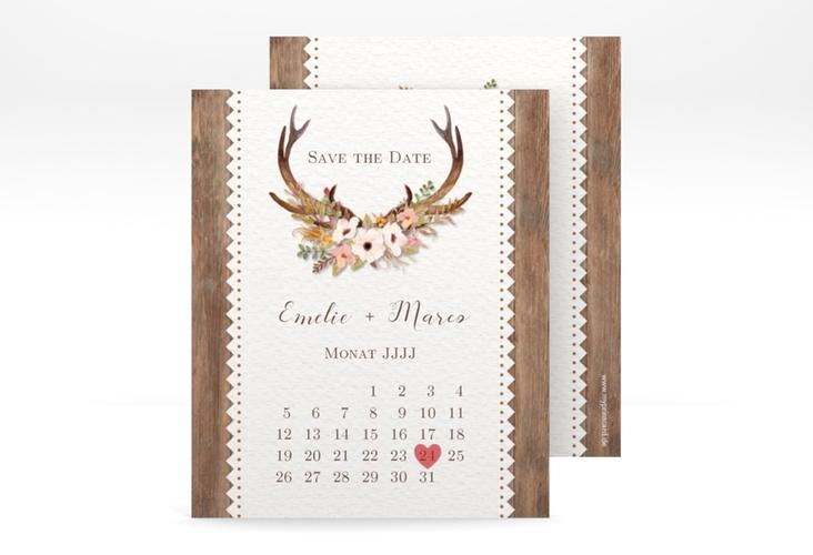 "Save the Date-Kalenderblatt ""Heimatjuwel"" Kalenderblatt-Karte braun"