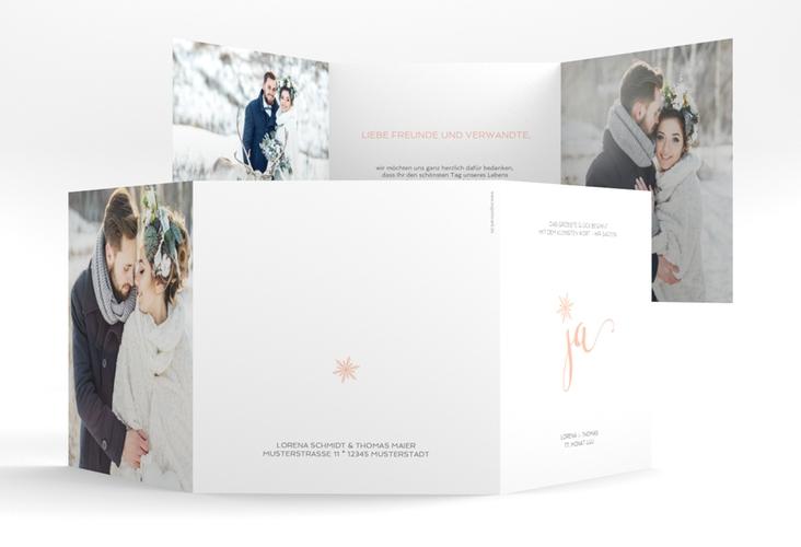 """Dankeskarte Hochzeit """"Snowflake"""" Quadr. Karte doppelt apricot"""