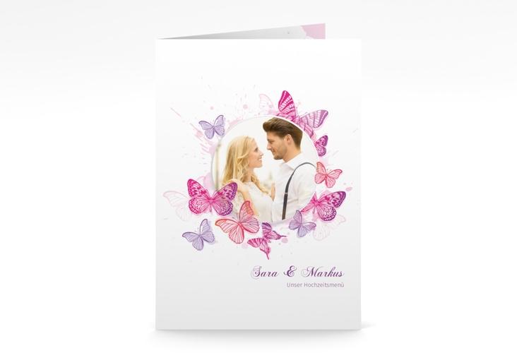 """Menükarte Hochzeit """"Schmetterlinge"""" DIN A5 geklappt pink"""