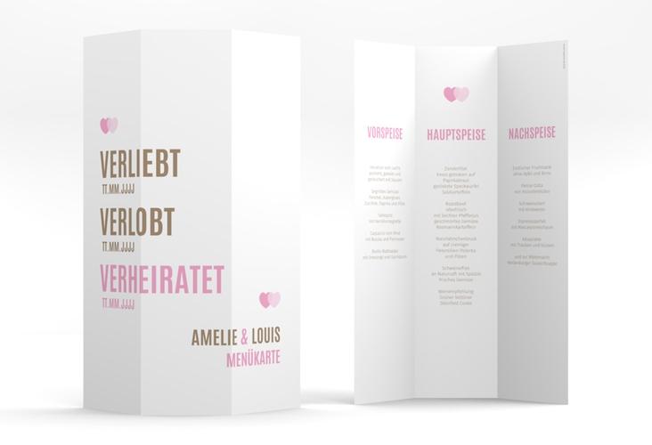"""Menükarte Hochzeit """"Couple"""" DIN A4 Wickelfalz rosa"""