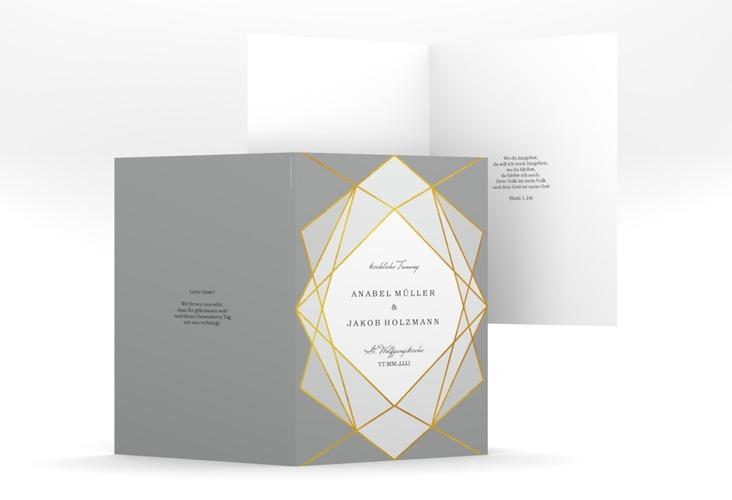 "Kirchenheft Hochzeit ""Geometric"" DIN A5 geklappt grau"