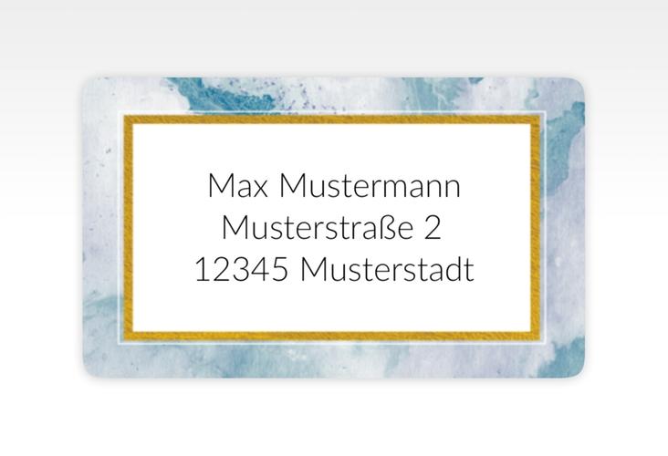"""Empfängeretikett Hochzeit """"Marble"""" 63,5 x 38,1 mm blau"""