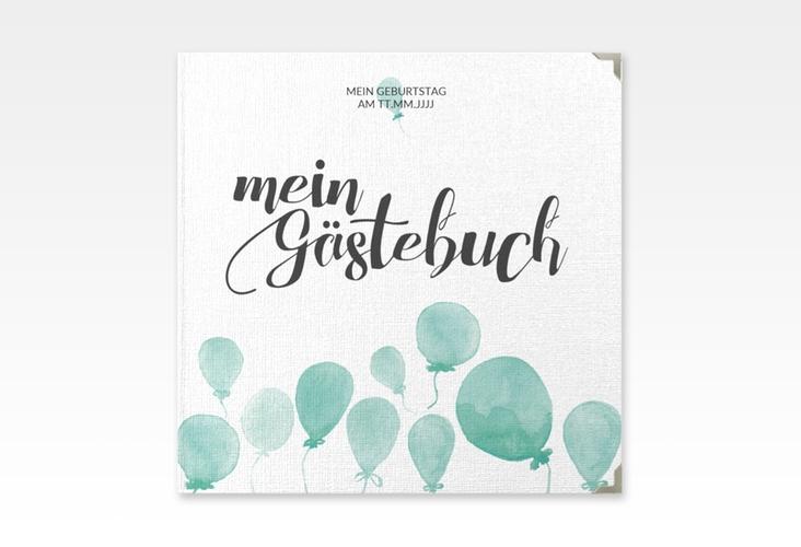 """Gästebuch Selection Geburtstag """"Ballon"""" Leinen-Hardcover gruen"""
