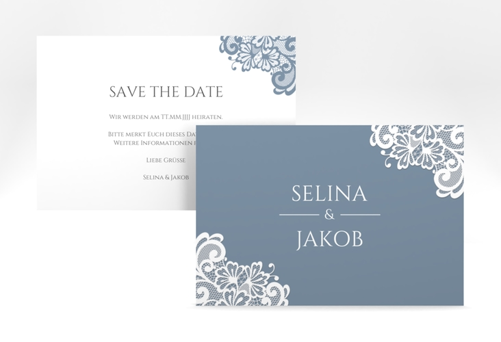 "Save the Date-Karte ""Vintage"" A6 quer blau"
