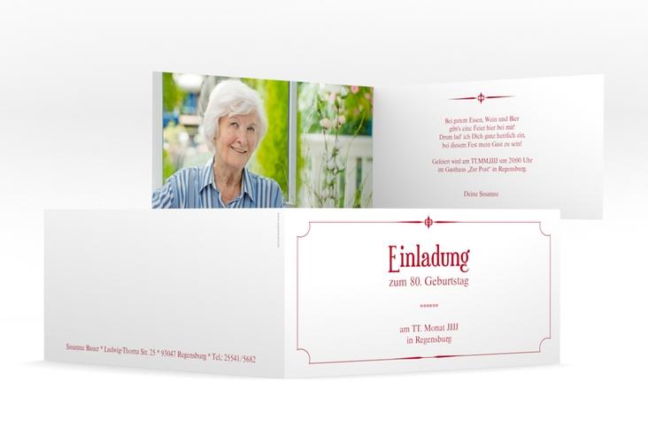 "Einladungskarte ""Helmut/Helmine"" DIN lang Klappkarte rot"