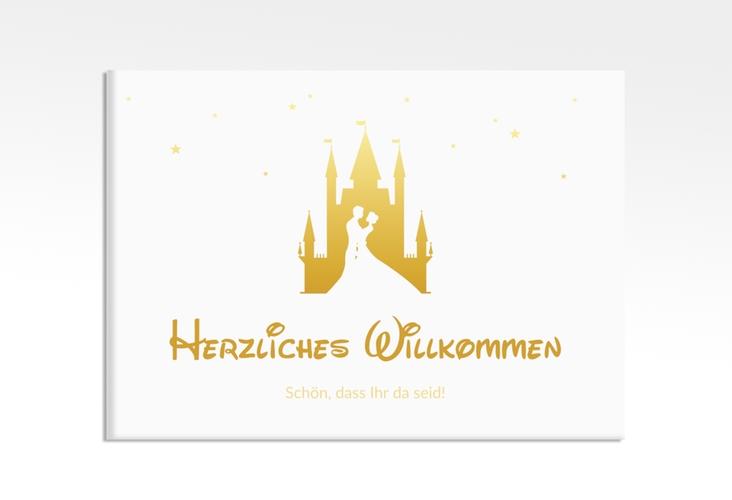 "Willkommensschild Leinwand  ""Castle"" 70 x 50 cm Leinwand gold"