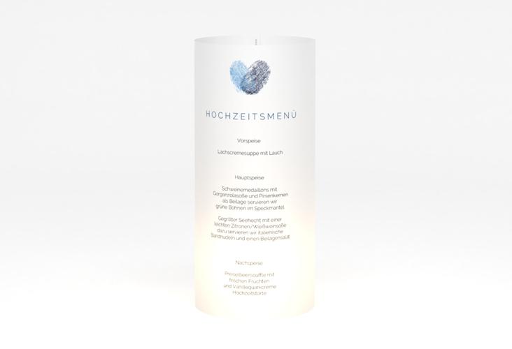 """Windlicht Menü Hochzeit """"Fingerprint"""" Windlicht blau"""